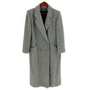 vintage | Alorna Grey Herringbone Wool Coat